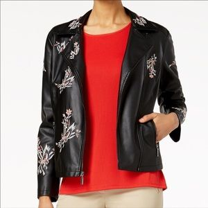 NEW Black Leather Embroidery Moto Biker Jacket Lg.
